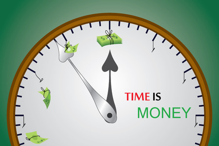 managing money: This vector show the value of time and how time can cut down the money slowly