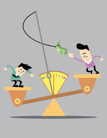 bussiness man: Two business competing to get richer. The weight balance has a meter with a rod show data. Both the business man trying to get the tied dollar. Illustration