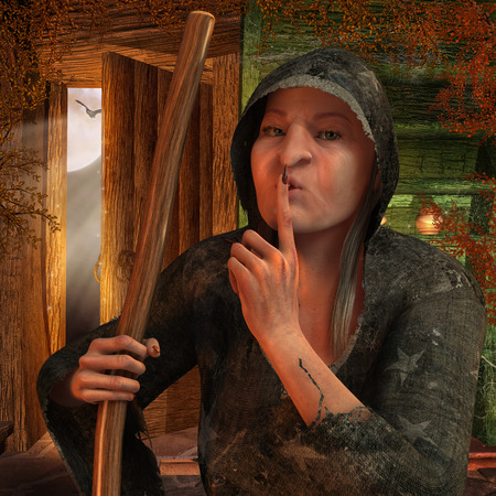 casts: Old witch casts a spell on Halloween in his hut Stock Photo