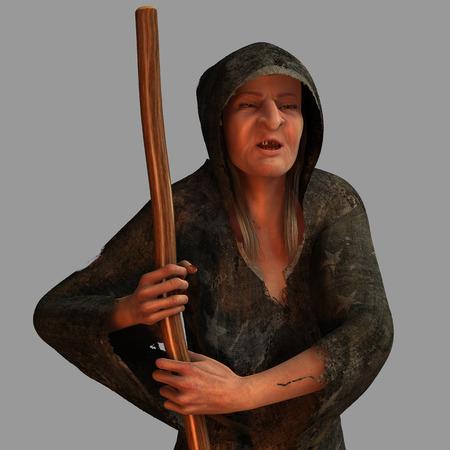 harridan: La vieja bruja hacen aislados del fondo Foto de archivo