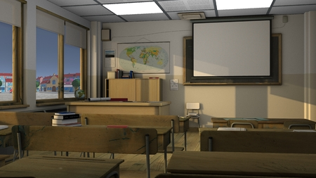 Class room three-dimensional rendering of the interior with the use of global illumination 版權商用圖片
