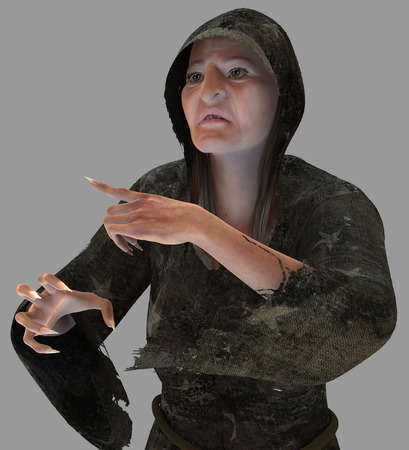 harridan: The old witch render isolated from the background
