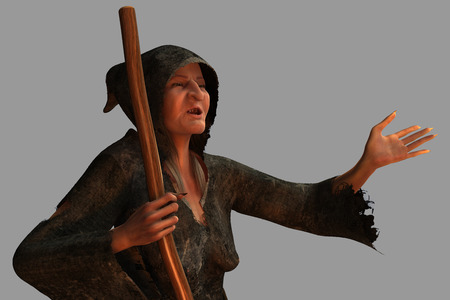 The old witch render isolated from the background photo