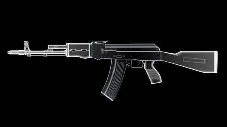 radiography: 3D render of the gun model in X-rays isolated on black background Stock Photo
