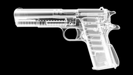 radiological: 3D render of the gun model in X-rays isolated on black background Stock Photo