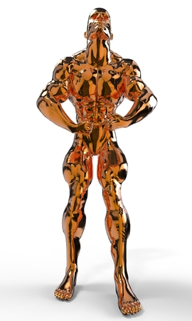 steroids: Gold bodybuilder figure in various poses and angles