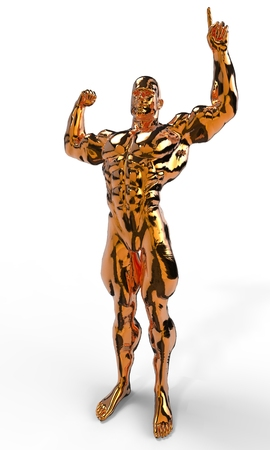 Gold bodybuilder figure in various poses and angles