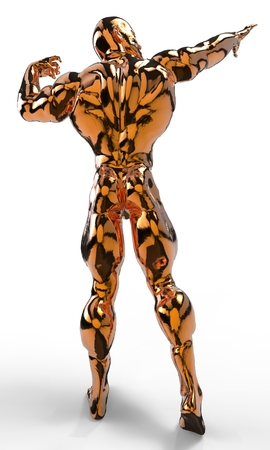 flex: Gold bodybuilder figure in various poses and angles