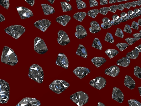 carat: Rows 3D diamonds on the burgundy background Stock Photo