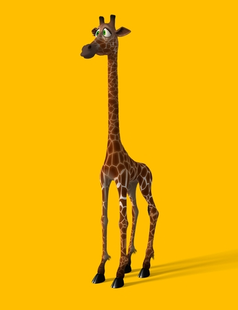giraffe isolated: Cartoon giraffe isolated on a yellow background in various poses Stock Photo