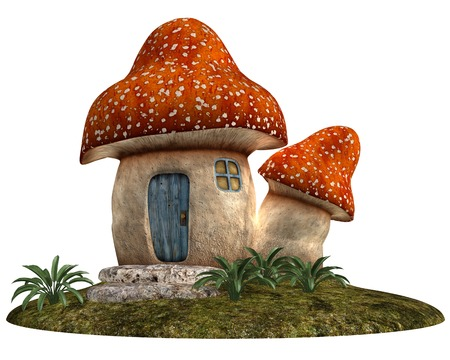 children's story: Gnome House made of fungus in cartoon style