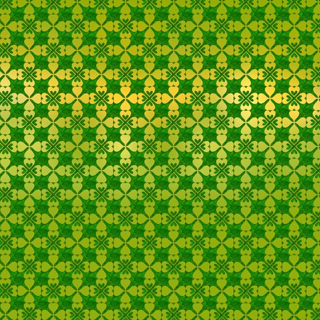 clover backdrop: Ornament of stylized gold-leaf clover on a green background Stock Photo