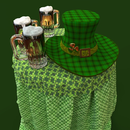 St. Patricks day celebration design Leprechauns hat and beer on the table