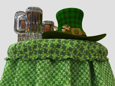 St. Patricks day celebration design Leprechauns hat and beer on the table photo