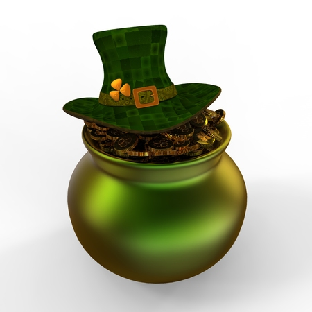 Pot of money and hat isolated from the background for St. Patricks Day photo