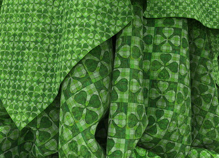 draped: Saint Patricks green clover ornamental draped background