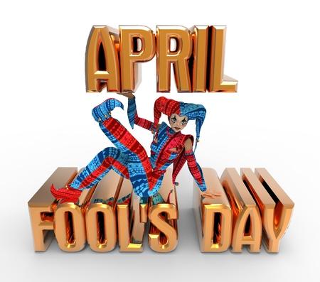 april clipart: 3D rendering clipart celebrating april fools day