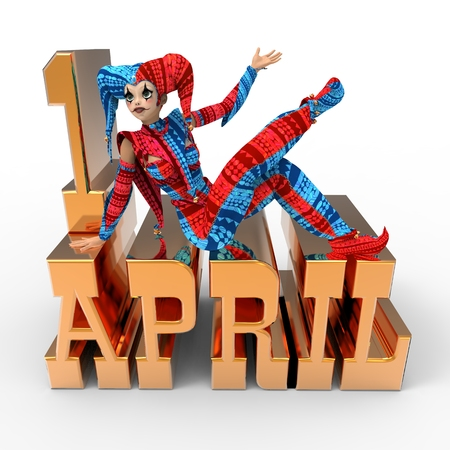 3D rendering clipart celebrating april fools day