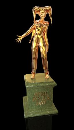 harlequin: 3D harlequin golden sculpture for celebrating april fools day Stock Photo