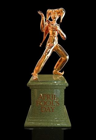 arlecchino: 3D scultura arlecchino d'oro per celebrare April Fools Day Archivio Fotografico