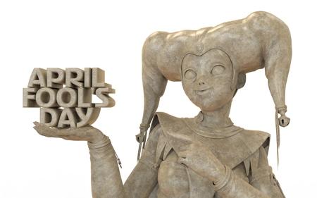 harlequin: 3D harlequin marble sculpture for celebrating april fools day