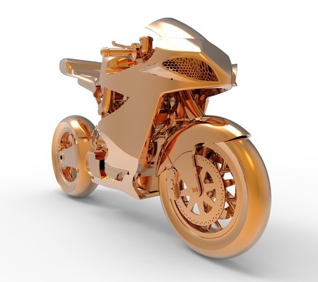iron fun: Golden motorcycle rendering isolated on white background Stock Photo