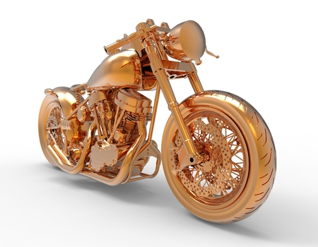 motorist: Golden motorcycle rendering isolated on white background Stock Photo