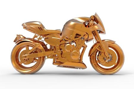 motorist: Golden motorcycle rendering isolated on white background Stock Photo