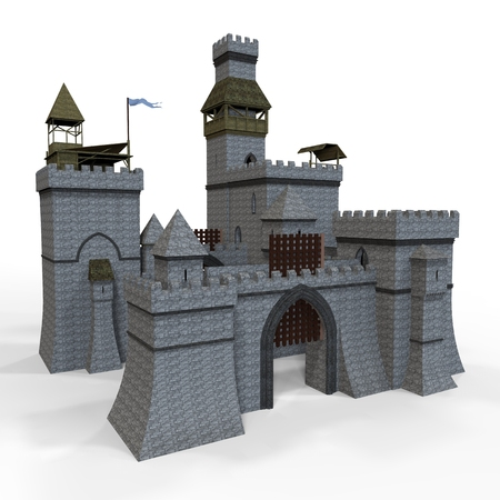 Clip-art castle isolated on the white background Stock Photo