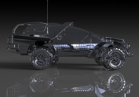 Three-dimensional model concept car. Non-branded car design.