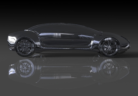 anodized: Three-dimensional model concept car. Non-branded car design.