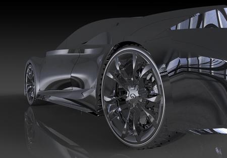 anodized: Three-dimensional model concept car. Non-branded car design.
