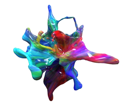 Multicolored paint splash Isolated on white background. Banque d'images