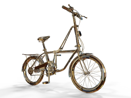pedaling: Render metallic bicycle Isolated on white background. Stock Photo