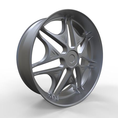 aluminum wheels: Three dimensional rendering car rim isolated on white.