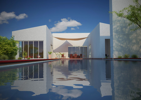 Three-dimensional visualization project of the home exterior.