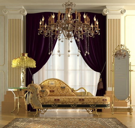 baroque room: Three-dimensional visualization reconstruction of the classic interior. Stock Photo
