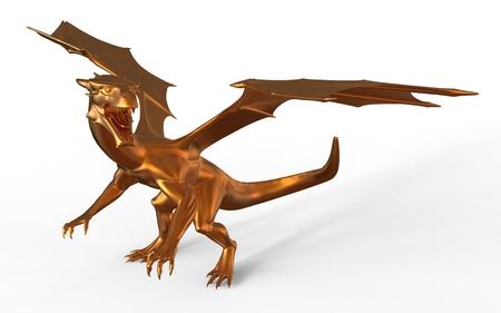 3d dragon: 3D digital render of fantasy golden dragon isolated on white background