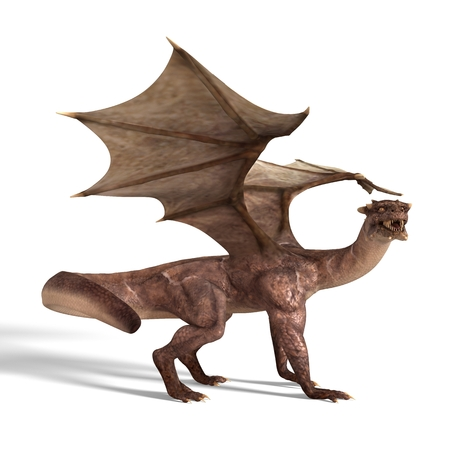 3d dragon: 3D digital render of fantasy dragon isolated on white background
