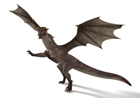 fantasy dragon: 3D digital render of fantasy dragon isolated on white background