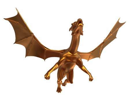soaring: 3D digital render of a soaring fantasy golden dragon isolated on white background Stock Photo