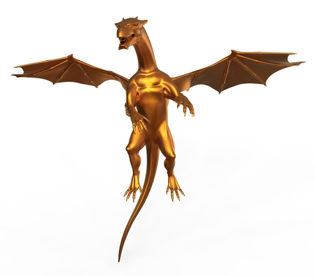 soar: 3D digital render of a soaring fantasy golden dragon isolated on white background Stock Photo