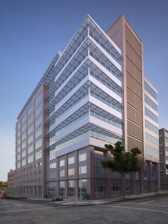 都市の建物の外観の 3 d レンダリングします。 写真素材
