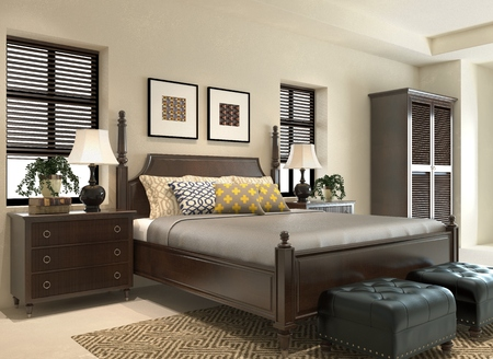 wooden bed: Photorealistic 3D render of a bedroom