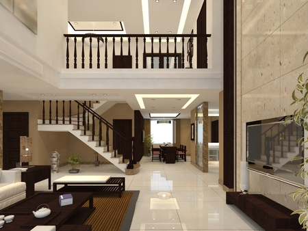 Photorealistic 3D render of a living room 版權商用圖片
