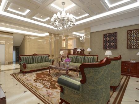 Photorealistic 3D render of a living room Banco de Imagens