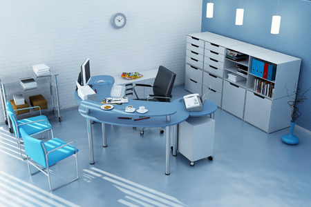Photorealistic 3d render of a office In blue tones 版權商用圖片