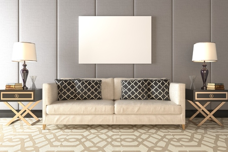 rendering: Photorealistic 3D render of a living room Stock Photo