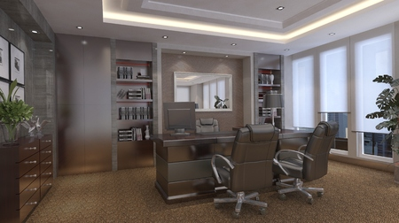 rendering: Photorealistic 3d render of a office Stock Photo