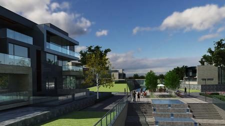 arquitecto: Fotorrealista rinde de los edificios en el aire libre. Foto de archivo